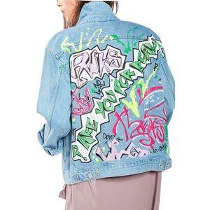 NWT TOPSHOP Graffiti Denim Jean Jacket